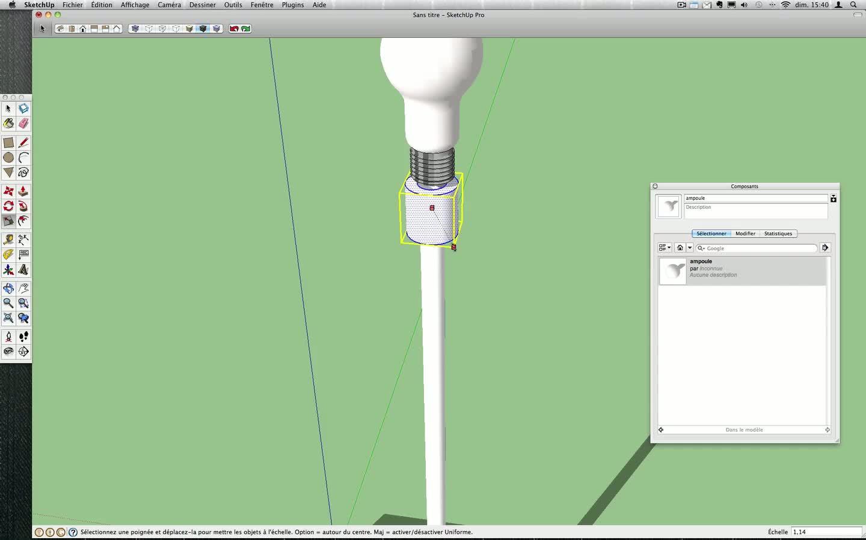 tuto cr er une lampe en 3d avec sketchup 8 sur. Black Bedroom Furniture Sets. Home Design Ideas