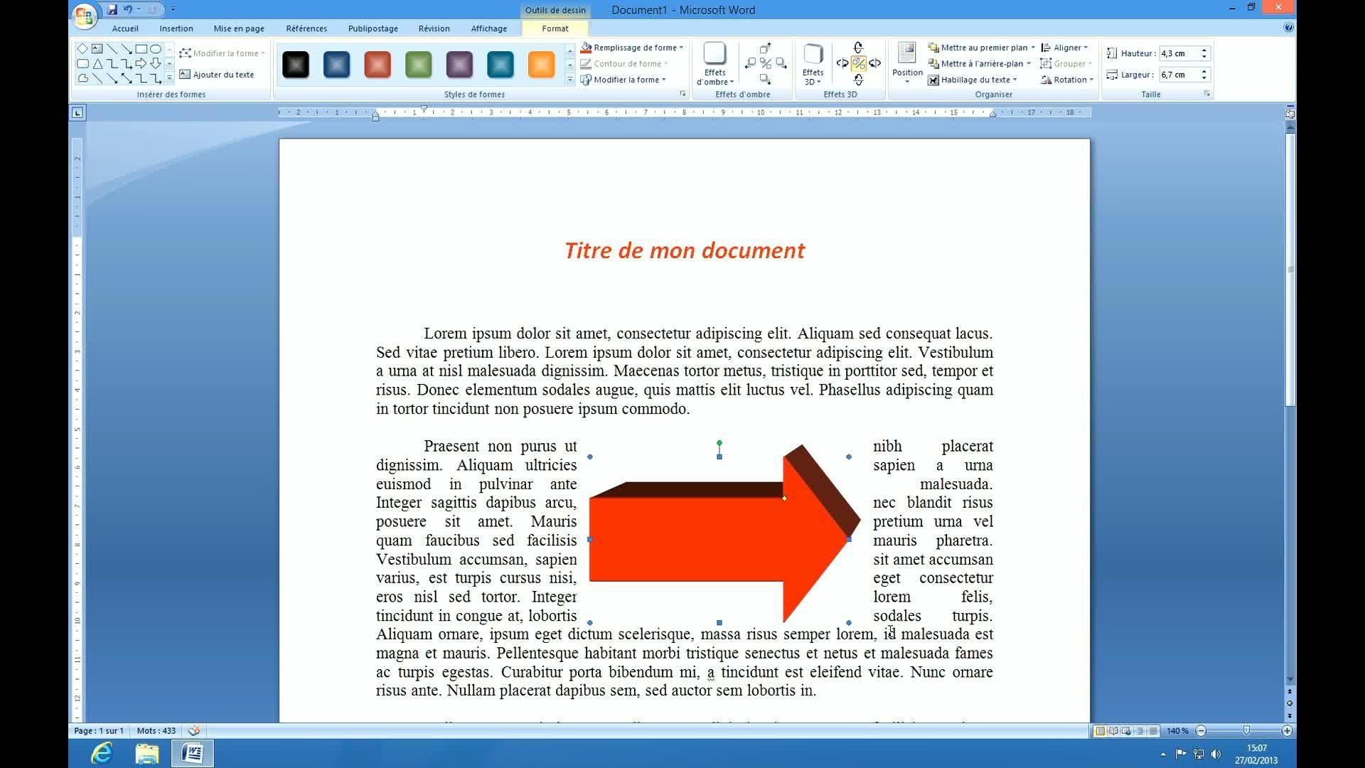 tuto ins u00e9rer et personnaliser une forme automatique avec word 2007 sur tuto com