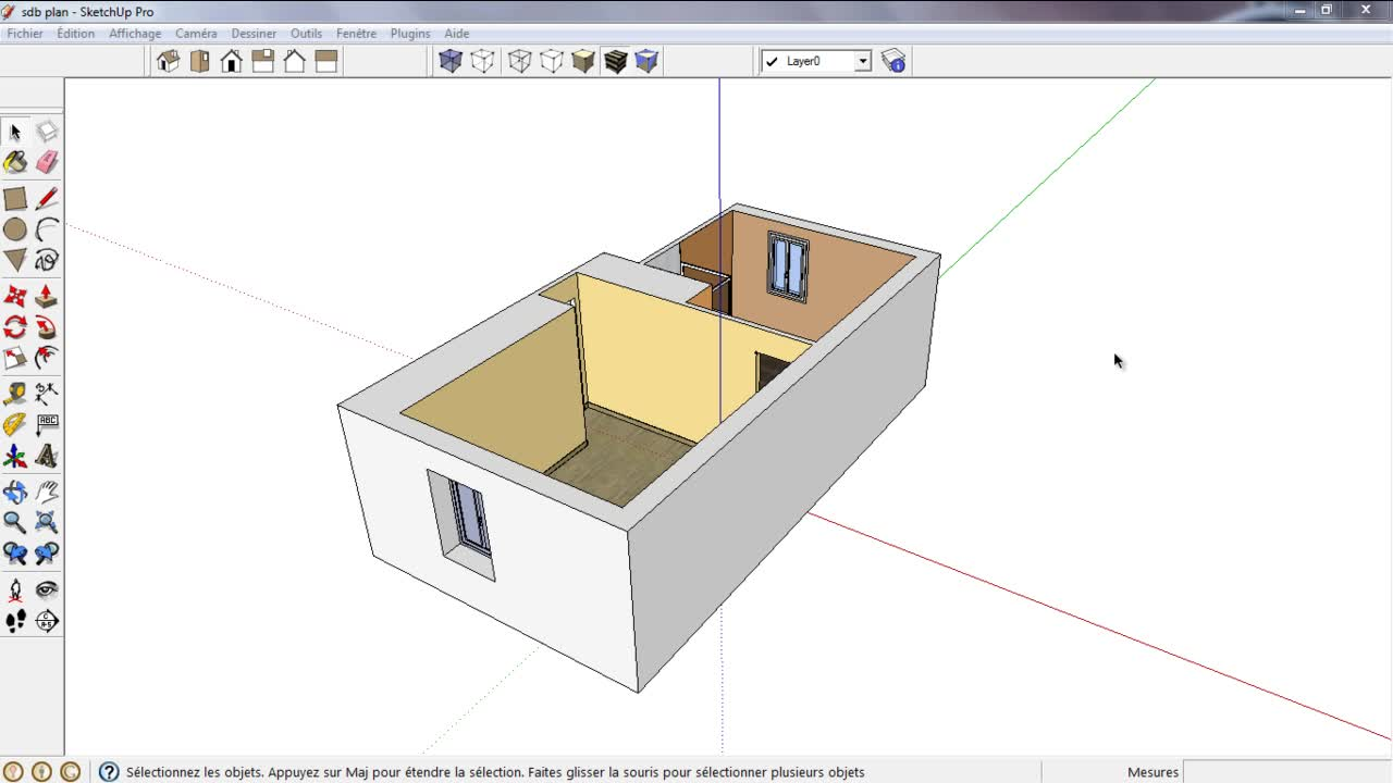 tuto les plans de section dans sketchup avec sketchup 8 sur. Black Bedroom Furniture Sets. Home Design Ideas