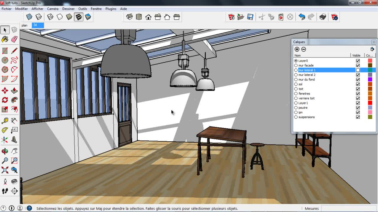 tuto sketchup d coration d 39 int rieur avec sketchup 2014 sur. Black Bedroom Furniture Sets. Home Design Ideas