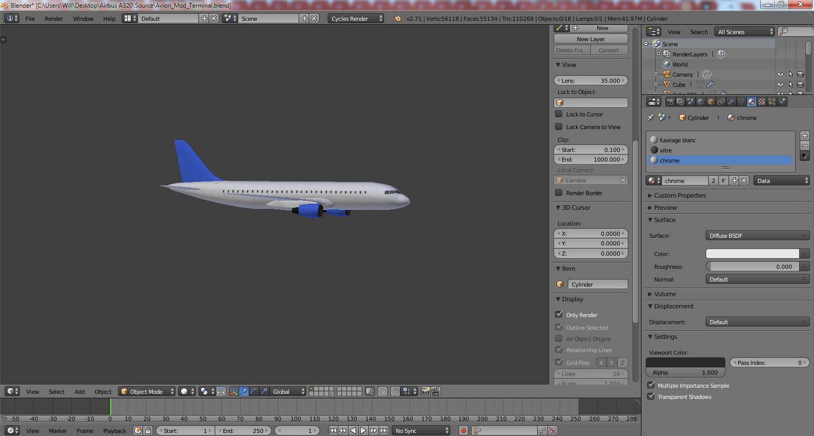 tuto blender mod liser et animer un avion avec blender 2. Black Bedroom Furniture Sets. Home Design Ideas