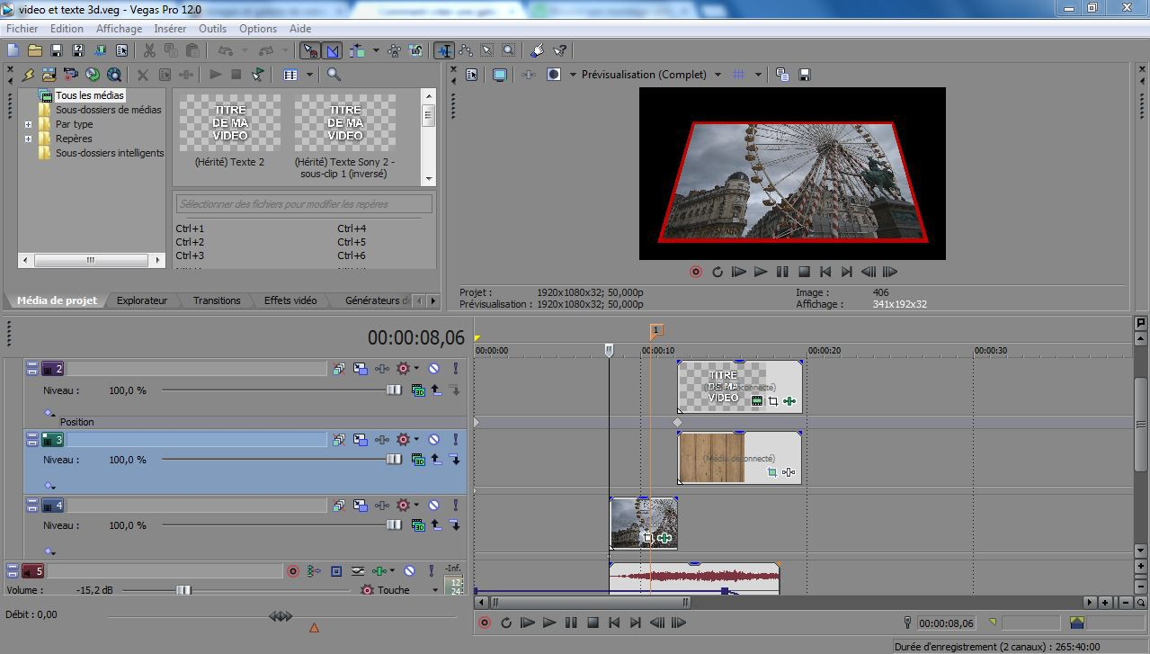 how to make 3d intro in sony vegas