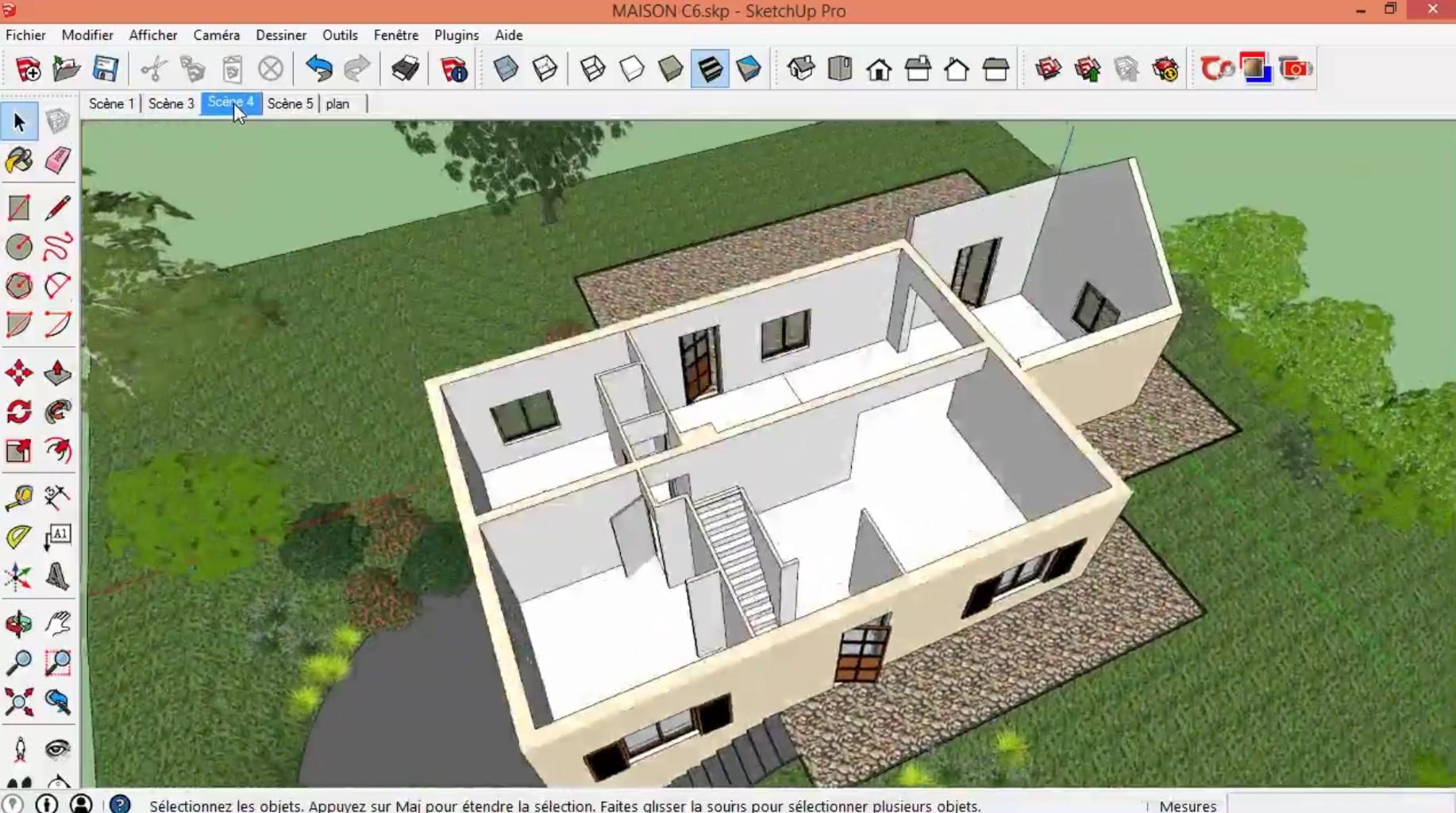 Tuto gratuit dessiner sa maison avec sketchup avec for Plan 3d gratuit facile en ligne