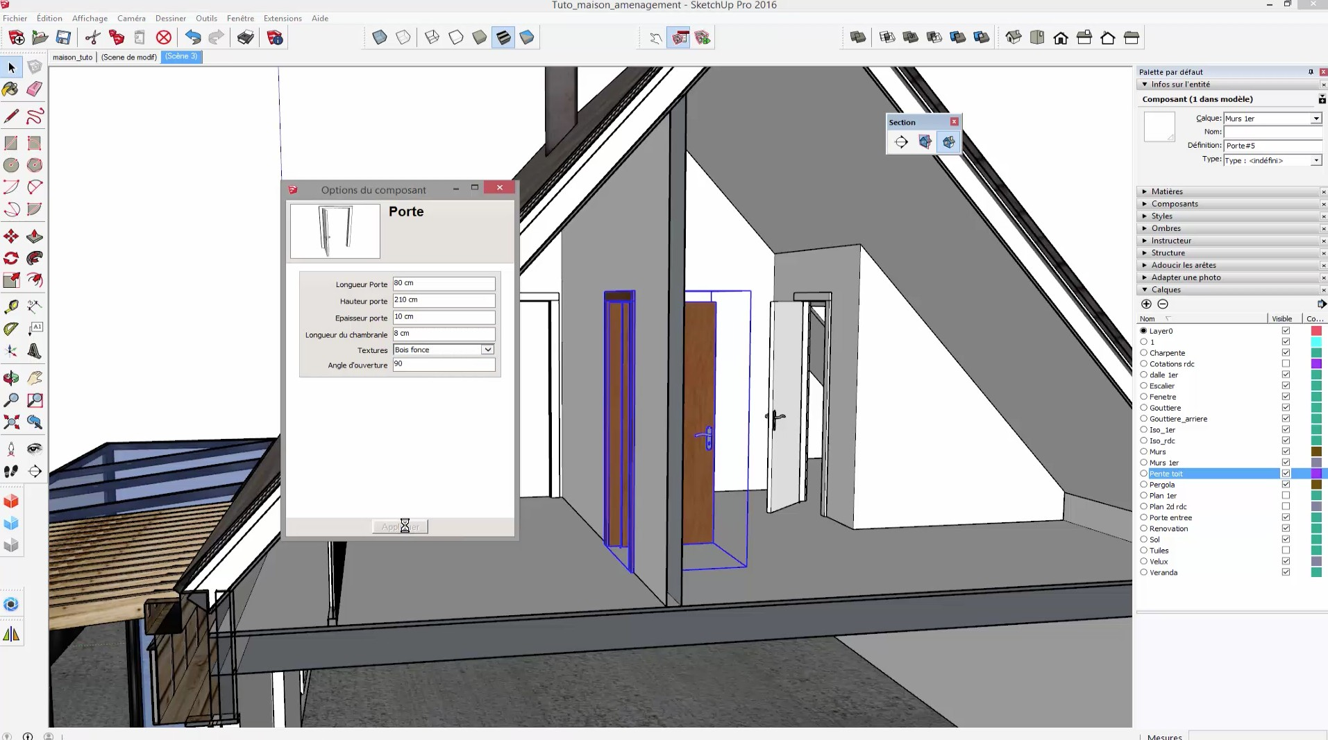 tuto sketchup am nager vos combles avec sketchup 2016 sur. Black Bedroom Furniture Sets. Home Design Ideas