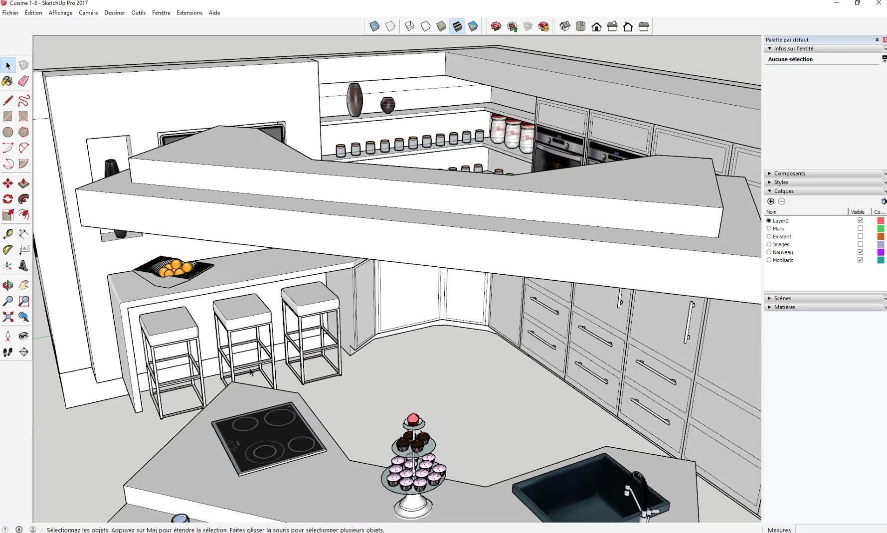 tuto r aliser sa cuisine dans sketchup formation am nagement d 39 int rieur avec sketchup 2017. Black Bedroom Furniture Sets. Home Design Ideas