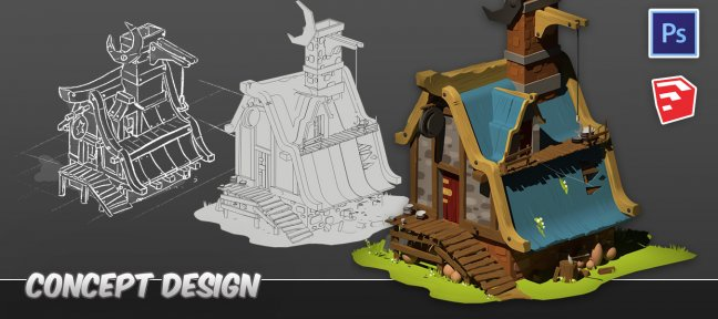 Sketchup, Twilight Render et Photoshop pour le Concept Art