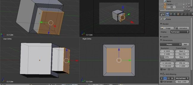 Interface Blender : QUAD VIEW