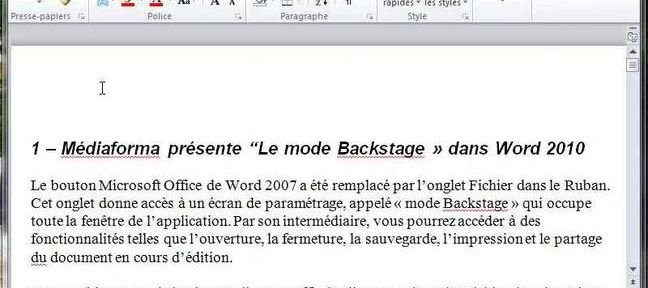 Tuto Le mode BackStage Word