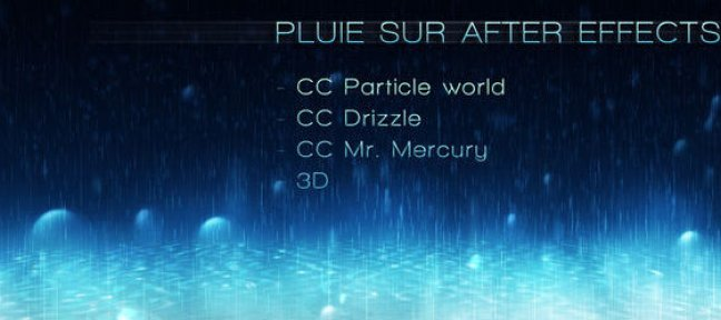 Tuto Pluie After Effect After Effects