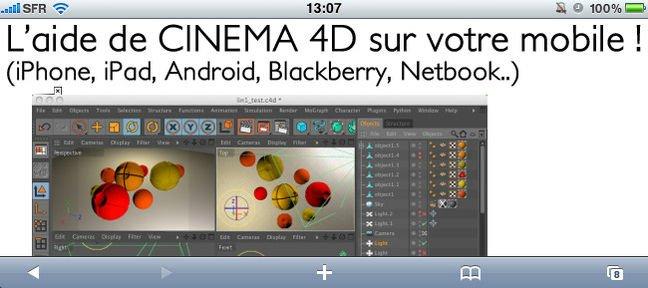 tuto l 39 aide de cinema 4d sur votre mobile version pc avec cinema 4d 12 sur. Black Bedroom Furniture Sets. Home Design Ideas