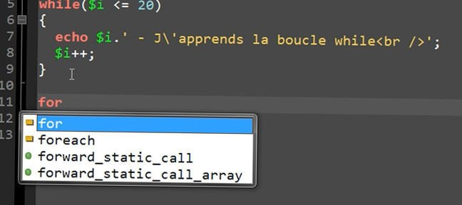 Tuto Les boucles While et For Php