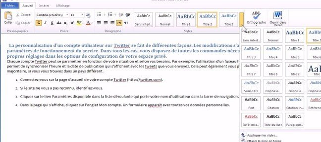 Tuto Modifier l'apparence de ses documents Office 365
