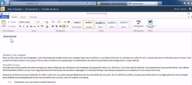 Créer un document Office Word Web App