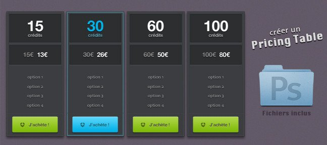Créer une maquette de pricing table