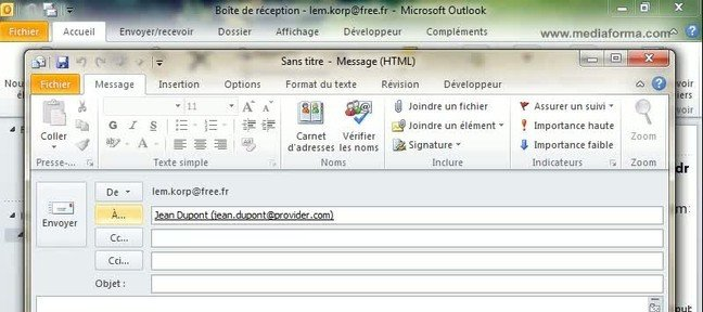 Tuto Utiliser un contact Outlook