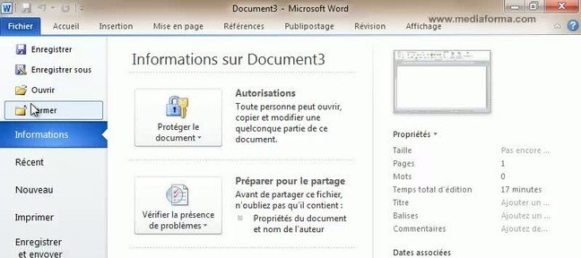 Tuto Restrictions sur la modification des documents Word