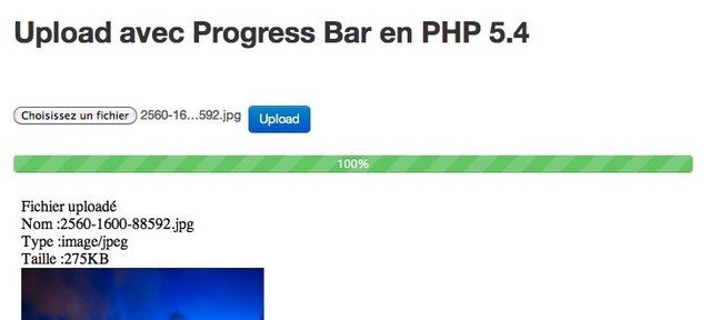 Upload avec Progress Bar en PHP 5.4 et Jquery