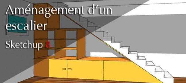 tuto cr er des rangements sous un escalier avec sketchup 8 sur. Black Bedroom Furniture Sets. Home Design Ideas