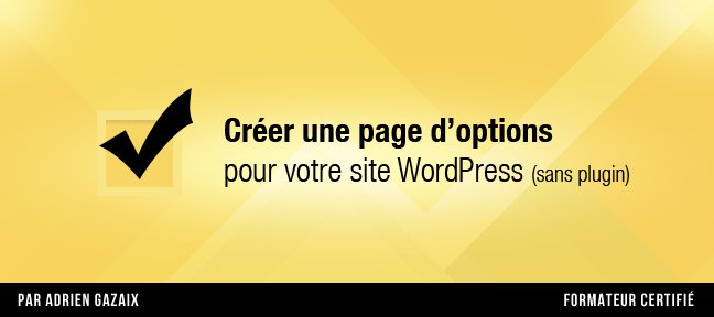 Tuto Créer une page d'options sur WordPress sans plugin WordPress