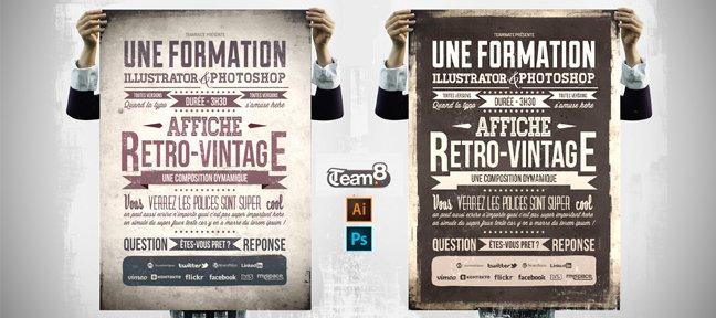tuto creer une affiche retro vintage avec illustrator cc