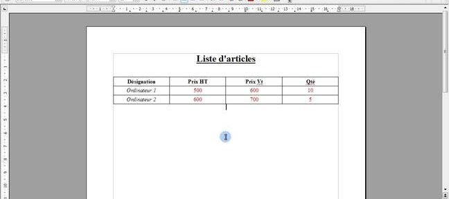 Tuto Personnaliser un tableau sous Writer 3 (Open Office) Writer