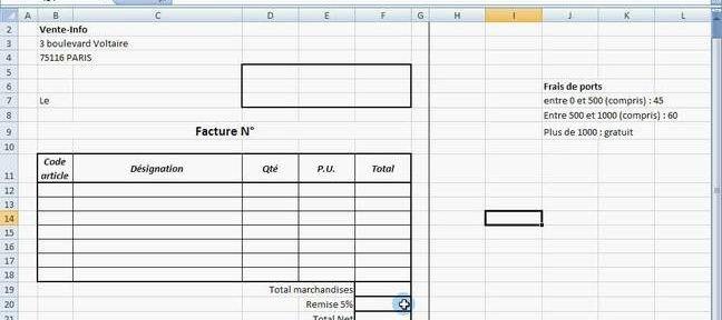 Tuto facture avec formule si sous excel 2007 avec excel for Modele facture garage excel