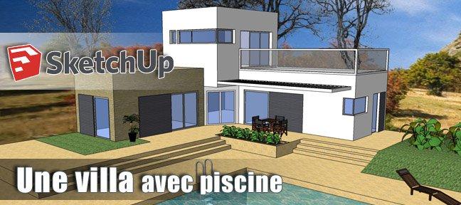 Tuto une villa avec piscine dans sketchup avec sketchup 8 for Bar dans une piscine