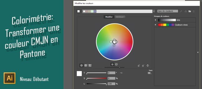 Gratuit Illustrator : Transformer une couleur CMJN en Ton Direct
