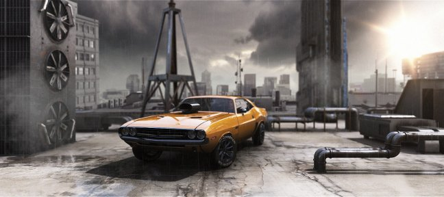 Dodge Challenger avec Element 3D V2.