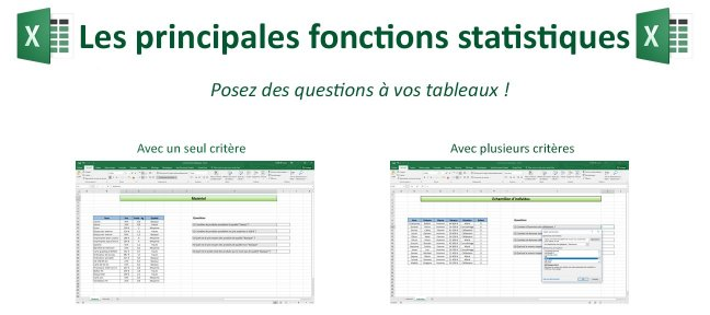 Tuto Excel et les fonctions statistiques : NB.SI, MOYENNE.SI... Excel