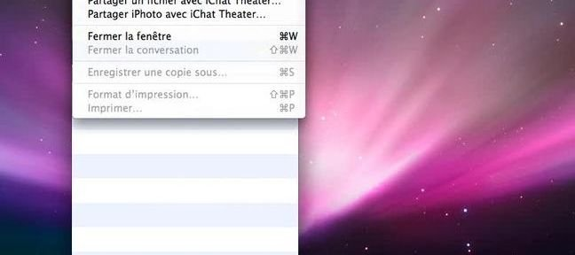 Menus iChat